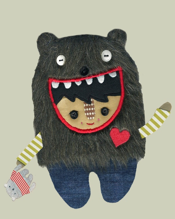 A Bear Boy in Jeans With His Very Good Friend