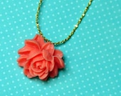 So retro So vintage. Lovely Rockabilly Flower Pendant on Plated Gold Sesame Link chain. Bridal Necklace. Wedding Jewelry.