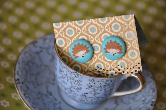 Mr Hedgehog-Fabric Covered Earring with 925 sterling silver studs. Polkadot Retro fabric.