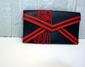 red and navy wood grain wallet