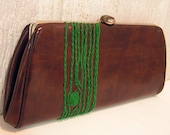green wood grain clutch