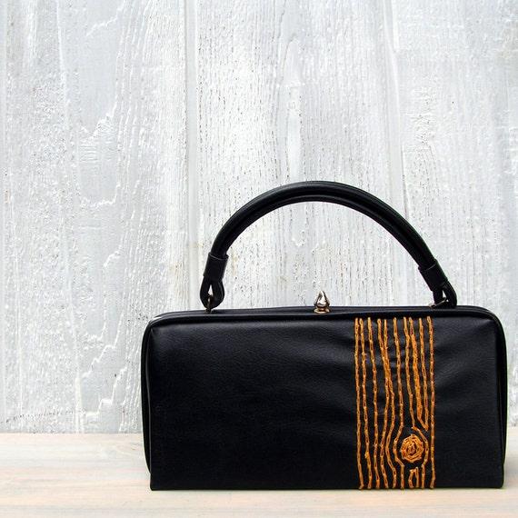gold  wood grain purse