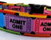 """Novelty Dog Collar Size LARGE """"Movie Ticket"""""""