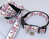 "LARGE dog collar and leash set World Series Champs ""STL"" includes cute Funky Mutt metal charm"