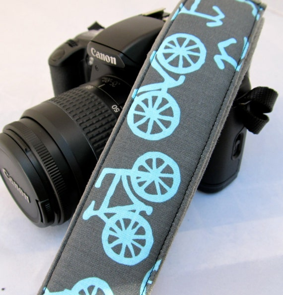 Funky Straps--dSLR Camera Straps--Vintage Bicycles in Blue and Gray