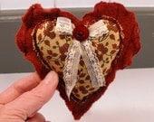 Recycled  Red Wool Heart Hug Keepsake Love Treasure