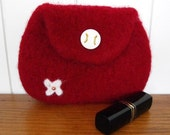 Purse Womens and Girls Knitted  Red Felted Wallet Clutch Sale