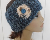 Womens Knitted Headband with Recycled Wool Flower