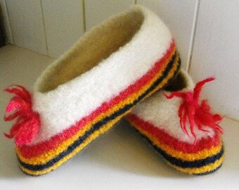 Womens wool felted hand knit travel slippers for home and cottage