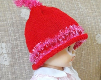 Girls Hand Knitted  Red Hat On sale
