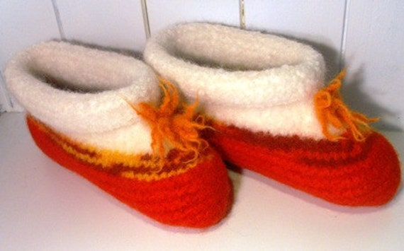 Felted Knitted Wool Slippers for Girls and  Women size Small