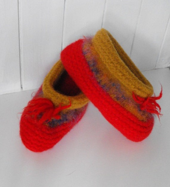 Womens  Hand Knit Wool Felted Slippers