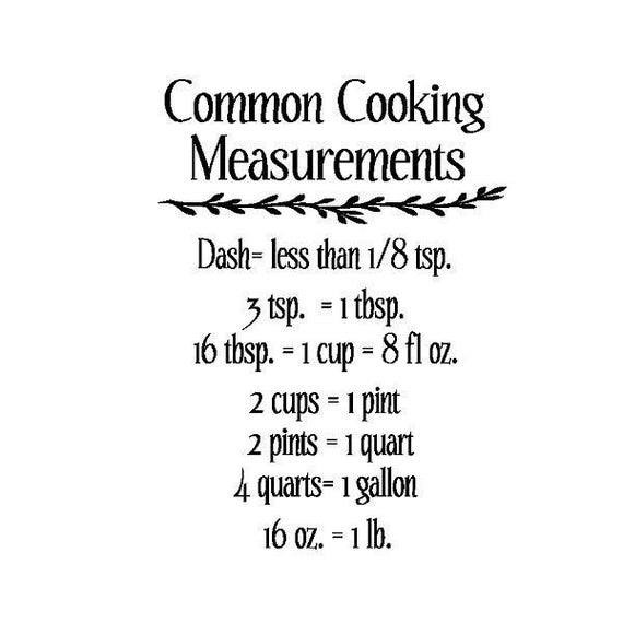 Kitchen Measurements: Items Similar To Kitchen Common Cooking Measurements Vinyl