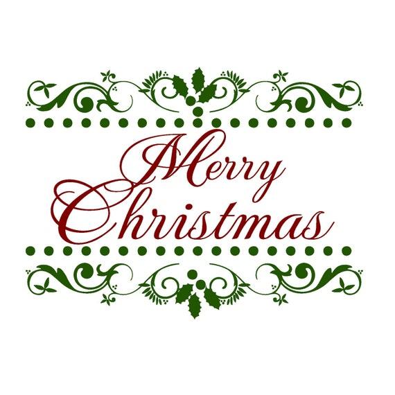 Christmas Decal Elegant Merry Christmas Vinyl Wall Art Decal