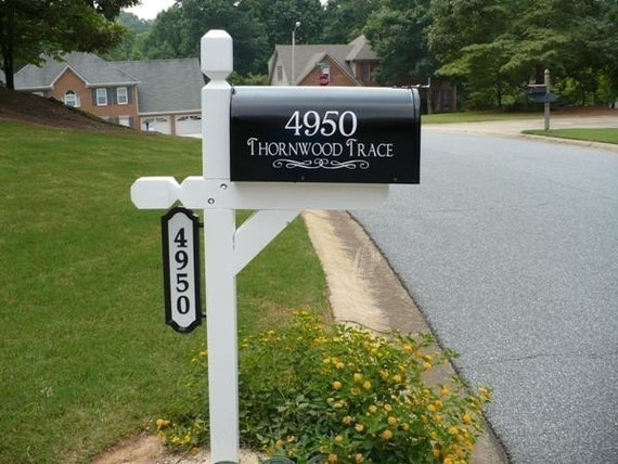 custom mailbox address vinyl decal with your by empressivedesigns. Black Bedroom Furniture Sets. Home Design Ideas