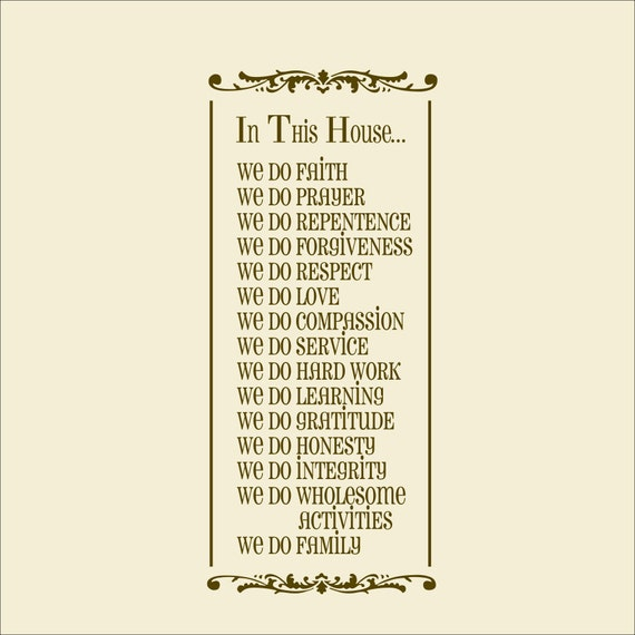 Items similar to Vinyl Wall Decal In this house We do Family Rules ...