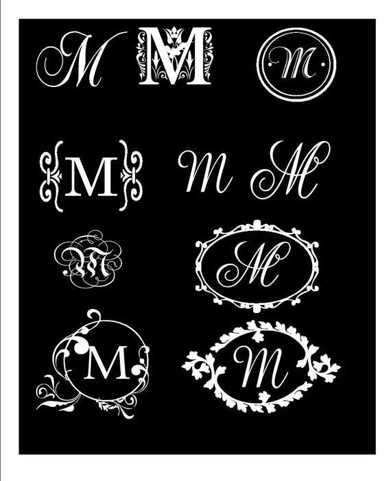 Monogram Decal Elegant Single Letter Vinyl Wall/ Car Decal- YOU CHOOSE  Design, Letter and Color