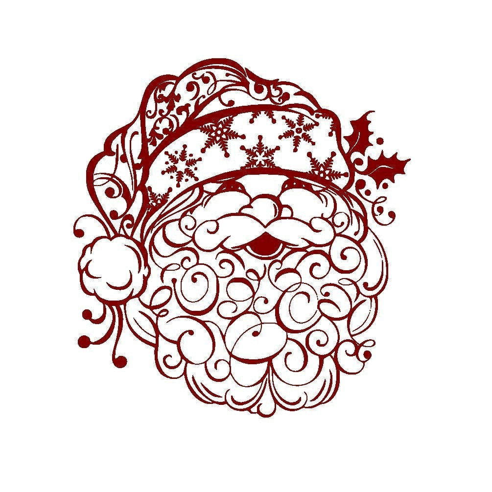 Items similar to Christmas Decal Beautiful Santa Clause ...