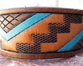 Womens Recycled Southwest Geometric Leather Cuff Hand Painted
