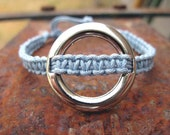 Macrame Yoga Bracelet Metal Circle Blue Adjustable Womens