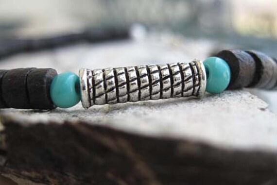 Mens Black Coconut Turquoise Pewter Bead Bracelet