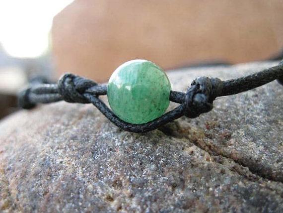 Green Jade Black Macrame Yoga Bracelet Adjustable Unisex