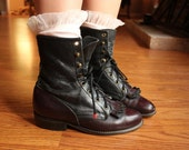 rich ox blood and black leather roper boots 6.5