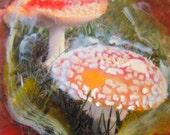 Original wall art encaustic wax painting on board mushrooms Buddha's gift  5
