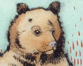 Lunatique ours brun-main illustration tiré drypoint impression avec aquarelle art pariétal - Totem Jim