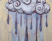 Whimsical wall art original oil painting Raincloud