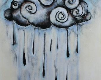 Original wall art fine art monotype print with chalk pastel Raincloud