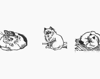 Small Cat art series - set of three cute hand-pulled linocut kitties