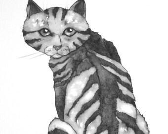 OOAK cute cat art wall art -Original pen and ink drawing- Honcho Bluesephy