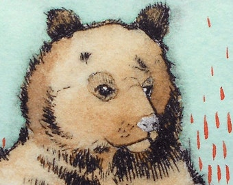 Whimsical brown bear illustration- Hand-pulled drypoint print with watercolor Wall art - Totem Jim