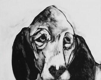 Whimsical wall art sad dog  Original monotype print Hound Dog