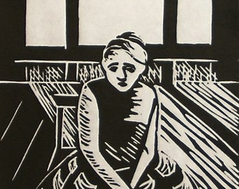 Original wall art melancholy Hand-pulled linocut print  Wallflower