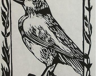 Wall art decorative Original hand-pulled linocut print Finch