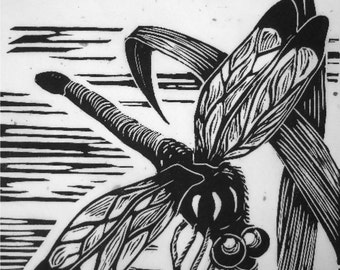 Original wall art Handpulled dragonfly nature art linocut print Garden Resident