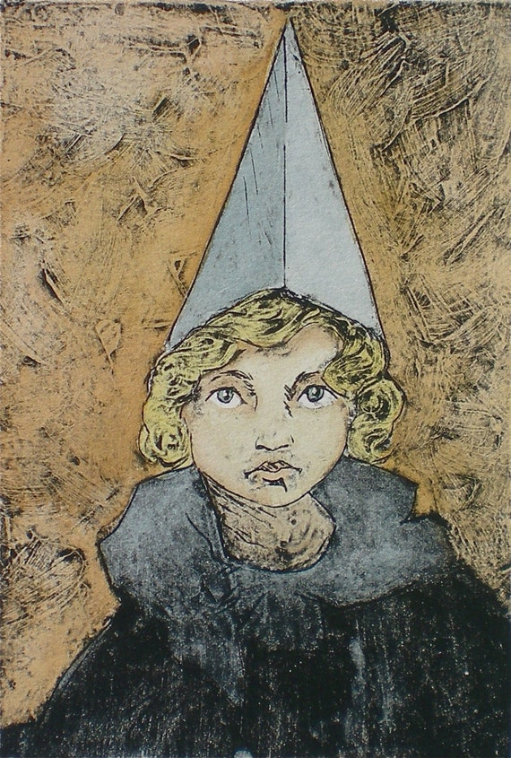 Whimsical wall art Original collograph print with watercolor  Performer