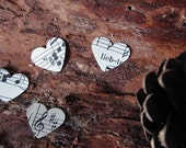 Tiny paper hearts - 500 pieces made from vintage sheet music, farm wedding, eco wedding, rustic wedding, wedding decoration - size x-small