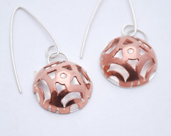 Japanese Illusion Copper and Silver Earrings