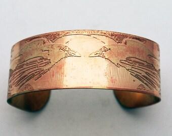 Raven Brass Cuff Bracelet Etched Brass