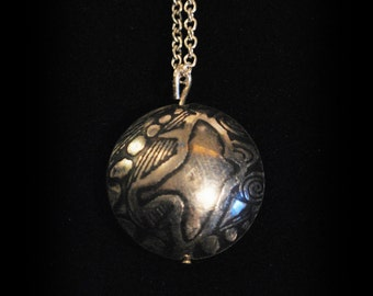 Large Sterling Silver Bird on the Wing Capsule Pendant