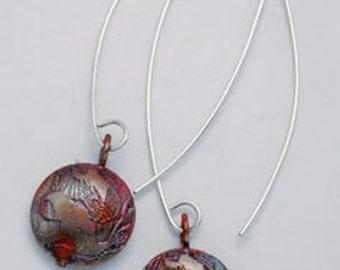 Copper owl drop earrings