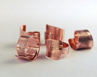 Etched Copper Ring - Adjustable size