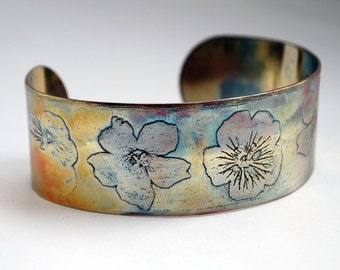 Etched Copper Cuff  Bracelet - flower design - medium size - SALE 20% off - was 27 dollars