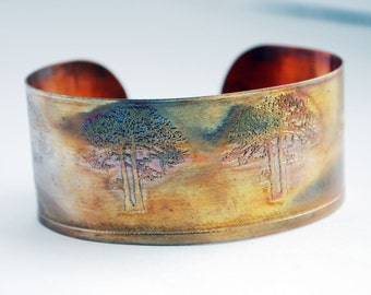 Etched Copper Cuff  Bracelet - tree design - medium size - SALE 20% off - was 27 dollars