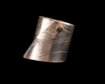 Sterling silver ring, etch printed, gold riveted ring, mixed metal jewellery, etched cuff, 925 sterling silver, 375 yellow gold