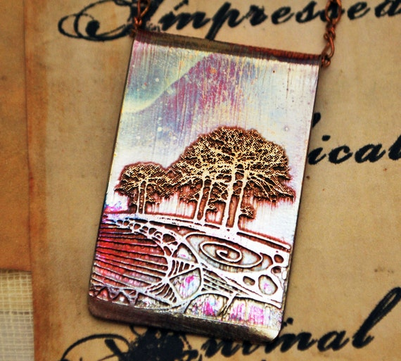 Etched copper pendant - tree -  double tree pendant on brass chain