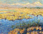 Marshland in early spring - Original oil pastel painting